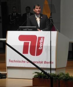 Presidente de Ecuador Rafael Correa en la TU de Berlín