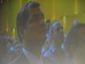 """Rafael Correa en el Centro de Convenciones """"URANIA e.V."""" de Berlín"""