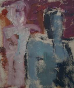 Pintura de Barbara Schneekloth. Pareja. Oleo sobre papel. 20x25 Ctms