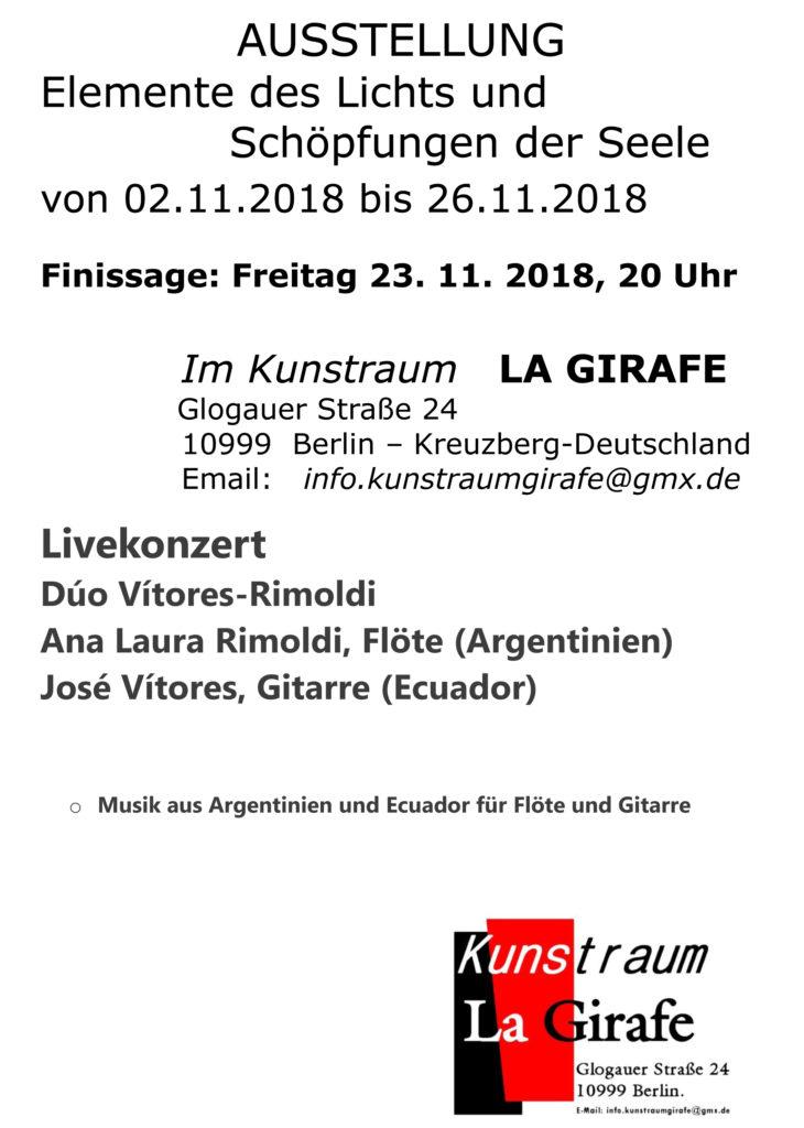 Finissage-Elemente des Lichts und Schöpfungen der Seele @ Im Kunstraum LA GIRAFE | Berlin | Berlin | Deutschland